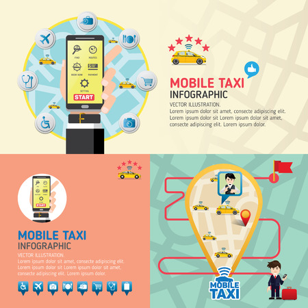 user friendly: Public taxi service application. Mobile Taxi business service icons template. Can be used for workflow layout, banner, diagram, number options, web design, timeline, infographics.Vector illustration.