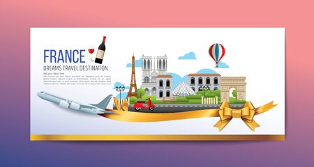 A Luxury France vector travel destinations icon set, Info graphic elements for traveling to France. Travel concept vector.
