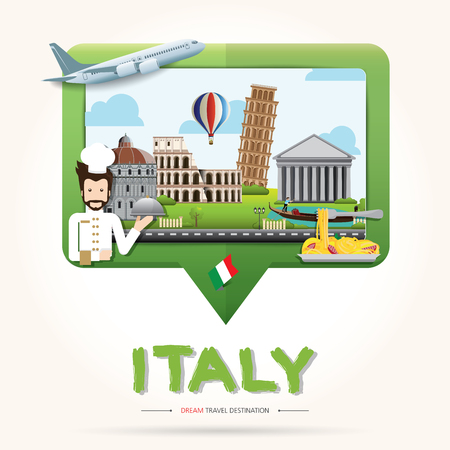 Travel and Tourism Check in icon concept. Italy Travel destination concept, Travel design templates collection, Info graphic elements for traveling to Italy. Travel vector.