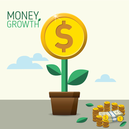 Money Growth. Money Tree. Financial growth concept. for business, marketing, creative, web and graphics concept Illusztráció