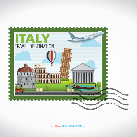 Italy Travel destination concept, Travel design templates collection, Info graphic elements for traveling to Italy. Travel stamp.  イラスト・ベクター素材