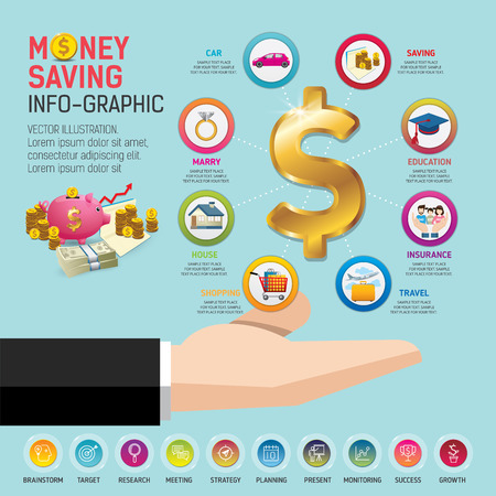 Money saving planning info-graphics conceptual. Golden coins putting into a pink piggy bank. template for workflow layout, banner, diagram, number options, web design, timeline.