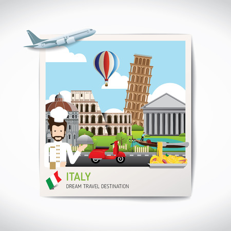 Italy photo travel destinations icon set concept vector, Info graphic elements for traveling to Italy. Travel concept vector.