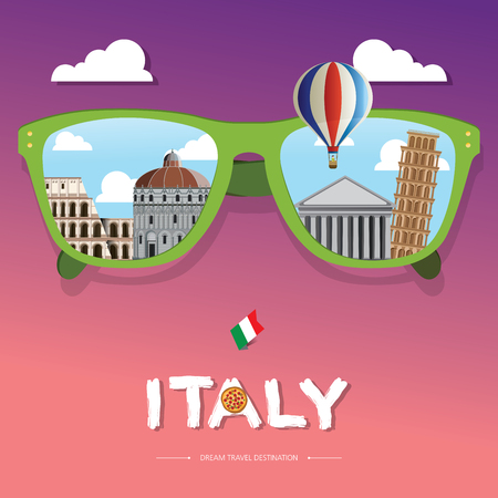 vector sun glass with Italy icon reflection. Vector concept. Italy Travel destination concept, Travel design templates collection, Info graphic elements for traveling to Italy.