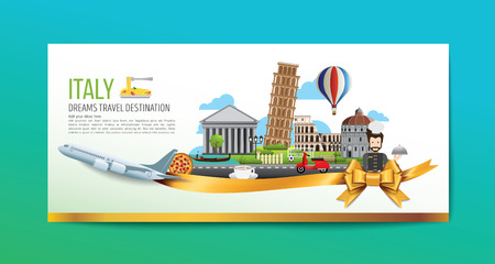 A Luxury Italy travel, Vector travel destinations icon set, Ribbon, airplane, gold ribbon, graphic elements for traveling to Italy. Modern flat design. EPS 10. Colorful.