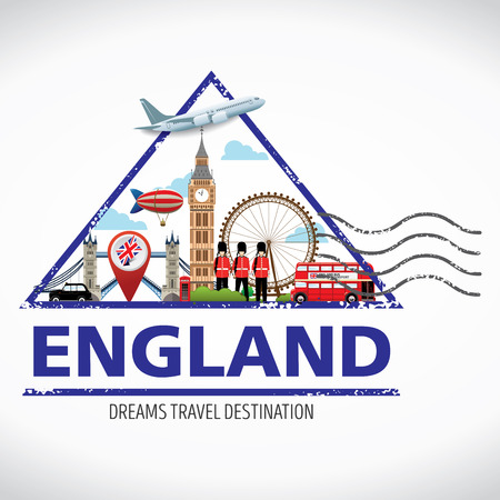 London, England Vector travel destinations icon set, Info graphic elements for traveling to England. Travel stamps vector. Illusztráció