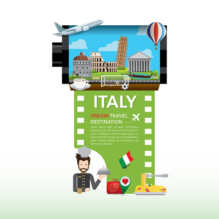 Italy Vector travel destinations icon set, Info graphic elements for traveling to Italy. camera film roll vector.
