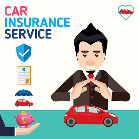 Car insurance business service icons template. Can be used for workflow layout, banner, diagram. Vector illustration.