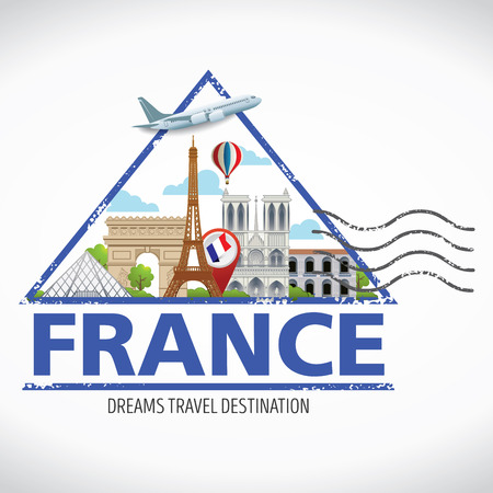 Paris,France Vector travel destinations icon set, Info graphic elements for traveling to France. Travel stamps Vector.