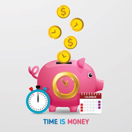 Time is Money Piggy Bank Vector Illustration