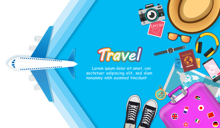 travel accessories around the world concept summer banner plane aerial check in Invitation on bokeh Background Design, concept blank space for text and content paper art, vector, banner, Card, Poster, Vettoriali