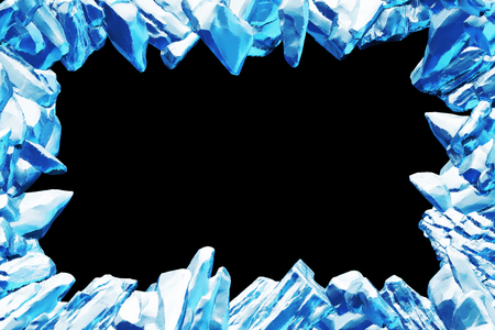 3D Rendering, Broken Blue crystal Ice Wall with Hole and Place For Your Text isolated on black background.