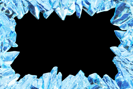 3D Rendering, Broken Blue crystal Ice Wall with Hole and Place For Your Text isolated on black background. Stock Photo