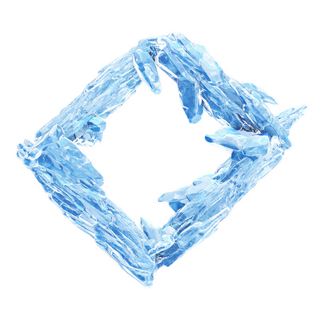 3D Rendering, Broken Blue crystal Ice Wall with Hole and Place For Your Text isolated on white background. Stock Photo