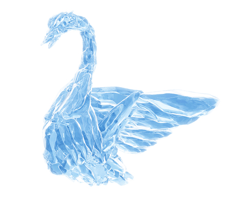 3D Rendering, Broken Blue crystal Ice Swan for wedding isolated on white background. Imagens