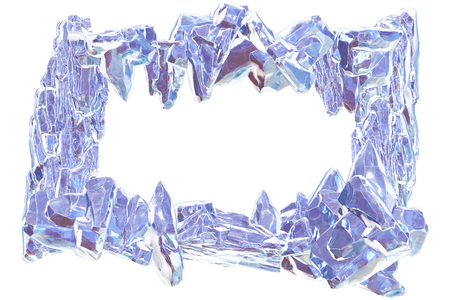 3D Rendering, Broken violet crystal Ice Wall with Hole and Place For Your Text isolated on white background.