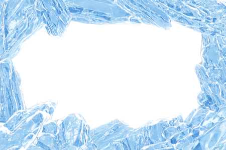 3D Rendering, Broken Blue crystal Ice Wall with Hole and Place For Your Text isolated on white background. Imagens