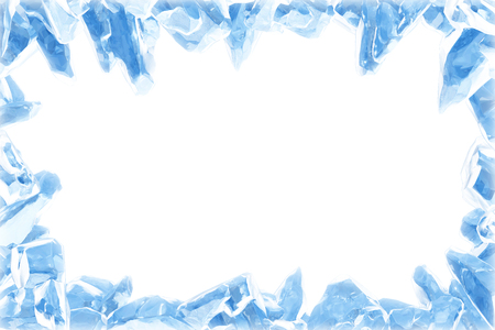 3D Rendering, Broken Blue crystal Ice Wall with Hole and Place For Your Text isolated on white background. Foto de archivo