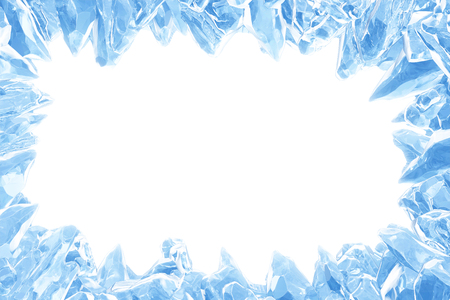 3D Rendering, Broken Blue crystal Ice Wall with Hole and Place For Your Text isolated on white background. With clipping path. Reklamní fotografie