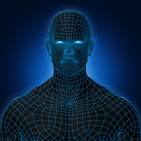 3D Rendering, Human muscle, Black shade anatomy man with Blue Wireframe Face front view on dark background, Clipping path.