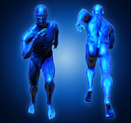 3D Rendering, High resolution, Conceptual  health fitness exercise human muscle, Blue shade anatomy man running and spinter Front and Back view on dark background, Clipping path. Imagens