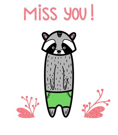 Lettering photography overlay Miss you! Cute inspiration typography. Calligraphy photo graphic design elements. Handwritten sign. Handdrawn gray raccoon bear. Animal card. Cute style short message.