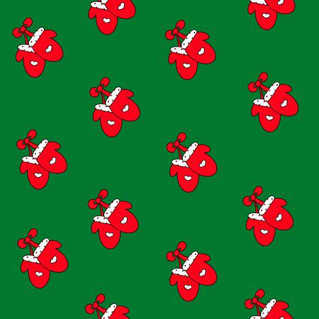 Mittens Seamless Pattern. Red green Santa Claus design. Hand drawn winter poster background. Christmas decoration icon. Festive Xmas vector illustration for textile invitation gift greeting card