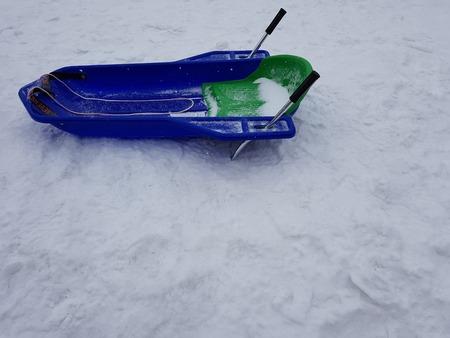 ARONA, ITALY - Feb. 25, 2018 Blue snow bob on the snow