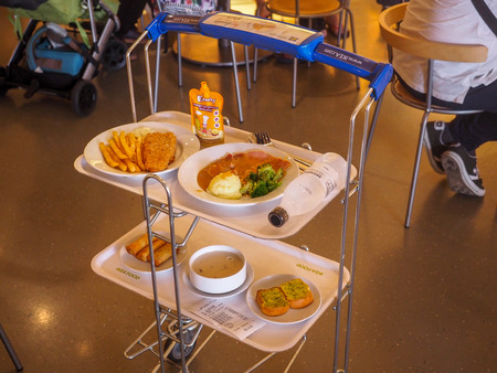 BANGKOK, THAILAND - APRIL 12, 2017 : People in cafeteria at store IKEA in Samara. IKEA Founded in Sweden in 1943, Ikea is the world largest furniture retailer. Editorial