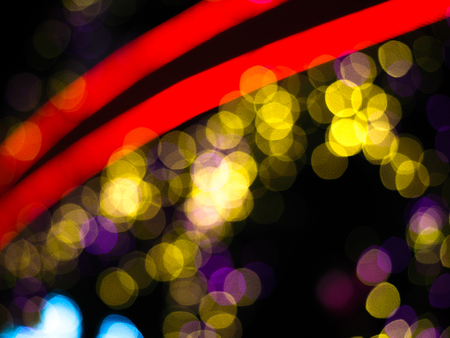 blur bokeh abstract Christmas tree at night background