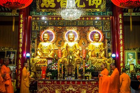Bangkok, Thailand - March 15, 2017 : Thai monk worship in temple at Wat Mangkon Kamalawat (Wat Leng Noei Yi). Wat Leng Noei Yi is the most important Chinese Buddhist temple in Bangkok, Thailand.