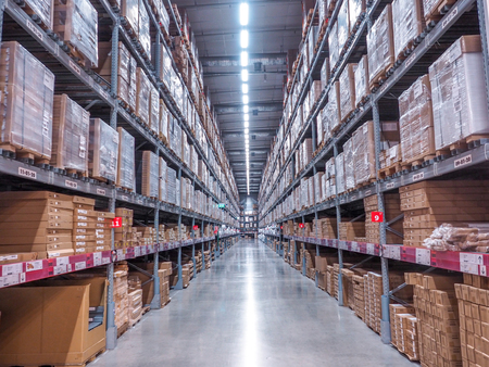 BANGKOK, THAILAND - April 4, 2017: Warehouse storage in an IKEA store. Founded in 1943, IKEA is the worlds largest furniture retailer. IKEA operates 351 stores in 43 countries. Editorial
