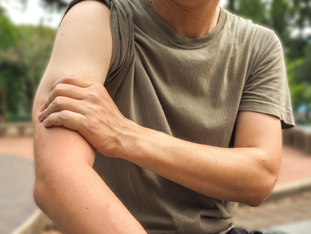 Male arm muscle pain or injury isolated , healthy concept.