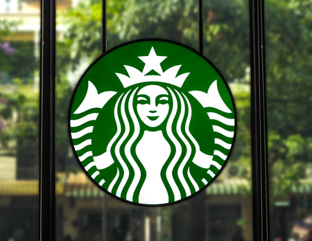 Bangkok, Thailand - April 18, 2017: Starbucks logo, Starbucks coffee is one of the most popular coffee house in Thailand. Editorial
