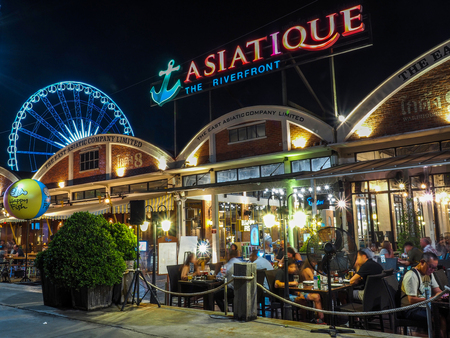 BANGKOK THAILAND - APRIL 25: Outdoor Restaurant in Asiatique The riverfront in night time in Bangkok, on April 25, 2017 in Bangkok, Thailand. Editorial