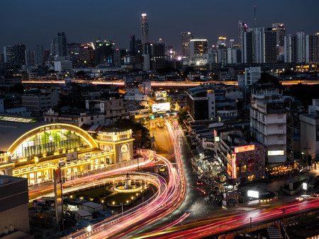 BANGKOK THAILAND - June 13, 2017: Bangkok Railway Station (Hua Lamphong Railway Station,MRT) in sunset Bangkok, Thailand.