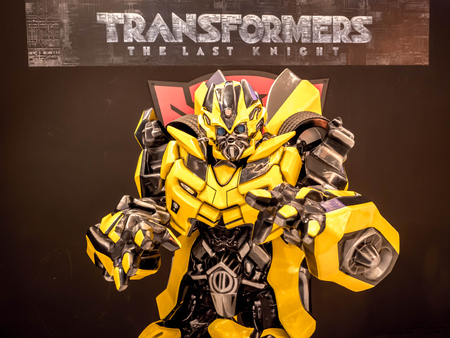 June 15, 2017: Bumblebee from Transformers: The Last Knight. It is the fifth installment of the live-action Transformers film series directed by Michael Bay at the emporium Bangkok Thailand. Banco de Imagens - 84765170