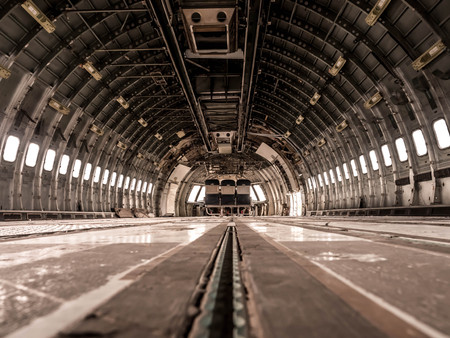Interior of old airplane. Stock Photo