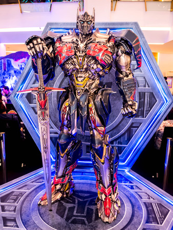 Bangkok, Thailand - June 15, 2017: Optimus Prime from the Transformers: The Last Knight. It is the fifth installment of the live-action at the emporium Bangkok Thailand.