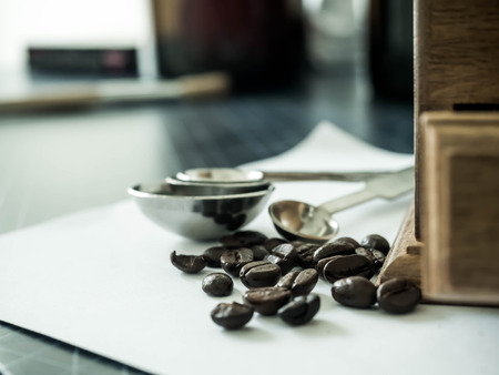 Coffee beans and Diff coffee grinder Stock Photo