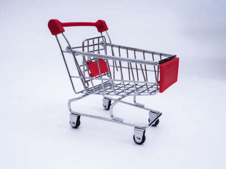 Small shopping cart isolated on a white background