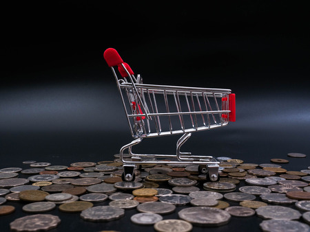 marketing online: Small shopping cart on coins and banknotes  exchange money using as shopping online or marketing concepts. Stock Photo