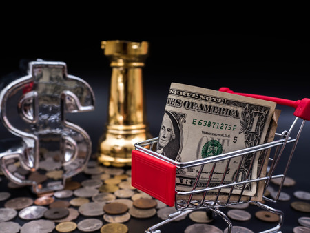 marketing online: Chess,financial symbol with small shopping cart banknotes on coins exchange money using as shopping online or marketing concepts.