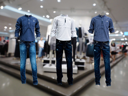 shirt Jeans 3 set , blue jeans in the store Stock Photo