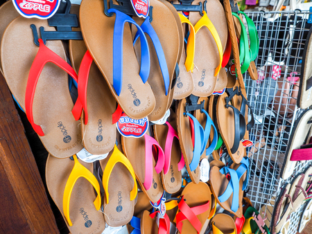 leather texture: AMPHAWA ,THAILAND - SEP 20,2015: thailand Slippers For Sale