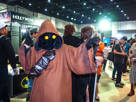 paragon: BANGKOK, THAILAND - APRIL 23, 2017: Fictional characters of Star Wars appeared in Thailand Comic Con 2017 in ROYAL PARAGON HALL, Bangkok Thailand. Editorial