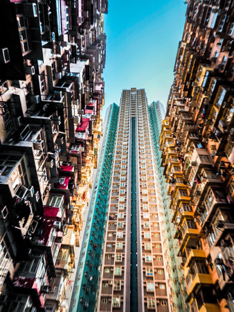 Very Crowded but colorful building group in Tai Koo, Hongkong Stock Photo