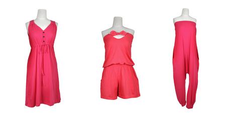 pink dress 3 set on white background.