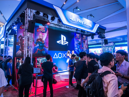 THAILAND - 4 November 2017:  Boots games by PlayStation 4. Mounted displays at Thailand game show big festival 2017 in ROYAL PARAGON HALL, Bangkok Thailand. Editorial
