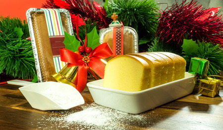 Butter cake with beautiful decoration, Christmas Theme
